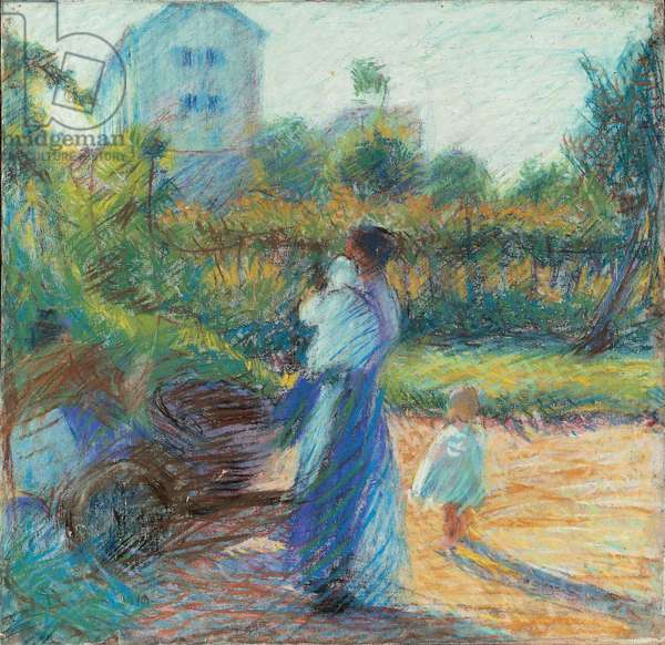 Woman in the Garden (Donna in giardino), by Umberto Boccioni, 1910, 20th Century, pastel on canvas
