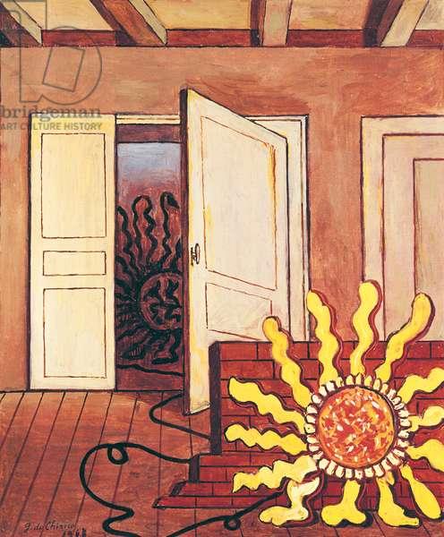 Sun in a Room (Sole in una stanza), 1967, by Giorgio de Chirico, 20th Century, oil on canvas, 60 x 50 cm
