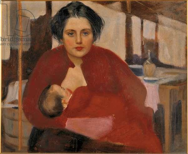 Bitta while breastfeeding (La Bitta che allatta), 1904 (oil on canvas)