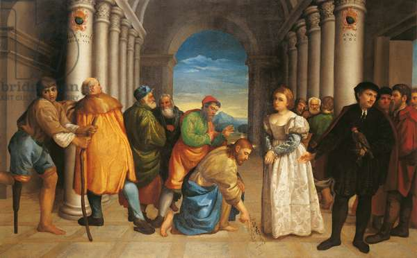 Jesus and the woman taken in adultery (Cristo e l'adultera), by Jacopo da Ponte known as Bassano, 1536, 16th Century, oil on canvas, 141 x 225 cm