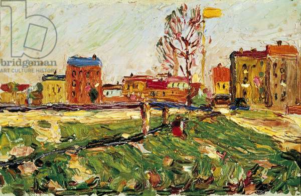 Schwabing - Houses in the suburbs I, by Wassily Kandinsky, 1901, 20th Century, oil on cardboard, 17 x 26,3 cm