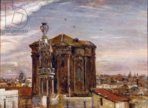 Sant'Andrea delle Fratte (Sant'Andrea delle Fratte), by Giorgio De Chirico, 1923, 20th century (tempera on canvas) 50 x 60 cm