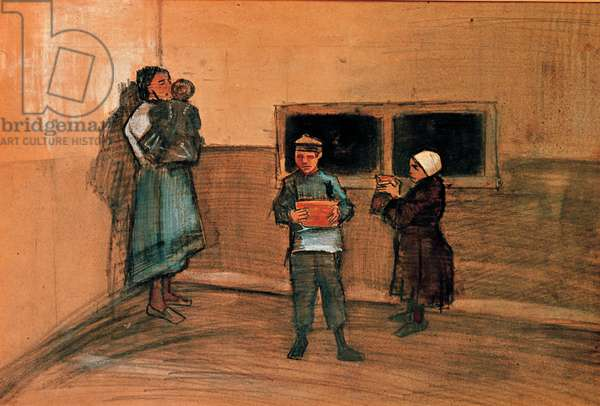 The Refectory of the Poor (The Distribution of the soup), 1883 (pencil, Italian chalk and watercolor)