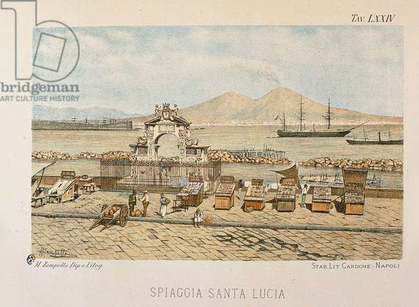 View of the Santa Lucia district in Naples with a view of the Vesuvius, print from 'Napoli antica', 1889 (colour litho)