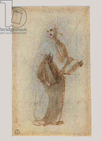 Monk Holding a Book in the Left Hand, 1483-1520 (pen, brown w/c, white lead)