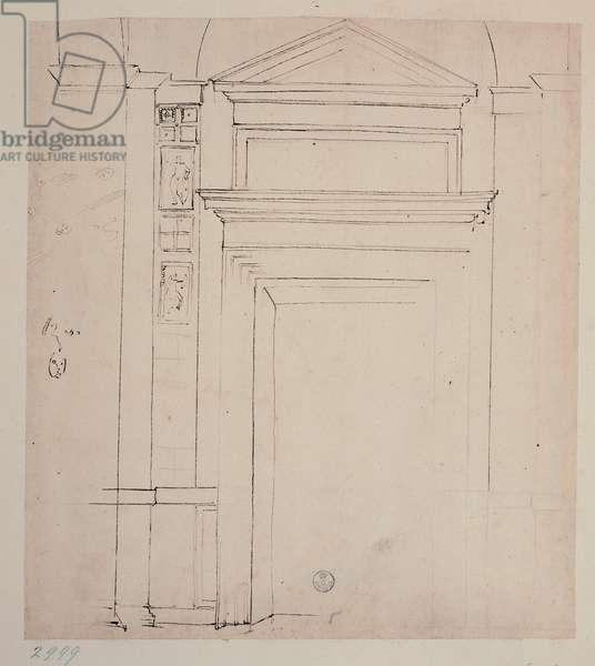 Study for a Doorway with Triangular Tympanum/Gable (Tympan/Pignon), 1483-1520 (pen)