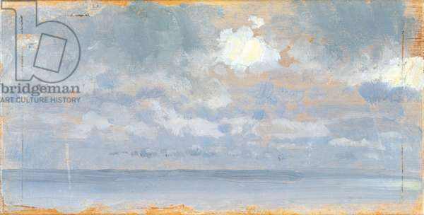 Study of clouds (Studio di nubi), by Giuseppe De Nittis, 1868-1869, 19th Century, oil on board, 8 x 16 cm