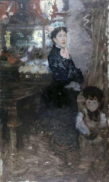 Mrs De Nittis and Son (La signora De Nittis con il figlio), by Giuseppe De Nittis, 1876, 19th Century, oil on canvas, 131 x 77,5 cm