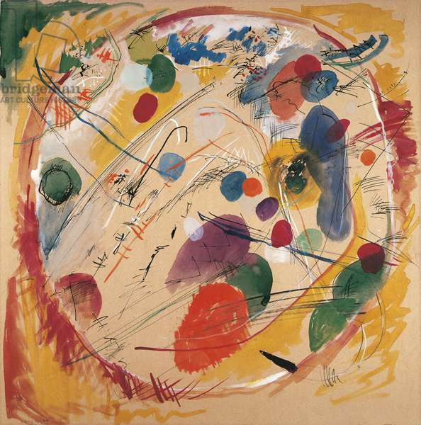 Into the circle, by Wassily Kandinsky, 1911, 20th Century, watercolor, 49 x 49 cm