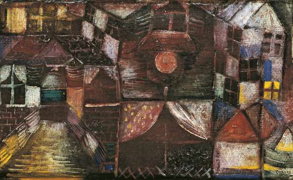 Houses at Night, by Paul Klee, 1920, 20th Century, olio su tela