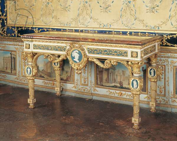 Wall table (tavolo da muro), by Giuseppe Maria Bonzanigo, 1787, 18th Century, wood carved partially gilded and painted, marble top, 90 x 151 x 74 cm