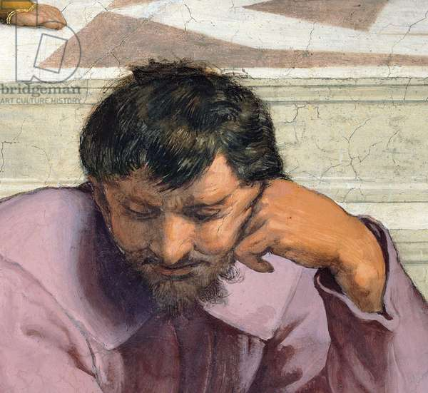 Heraclitus, philosopher drawn in the guise of Michelangelo Buonarroti, detail of the School of Athens, from the Stanza della Segnatura, 1510-11 (fresco)