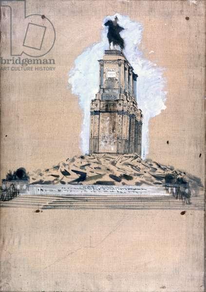 Sketch of the monument to Vittorio Emanuele II (Bozzetto di monumento a Vittorio Emanuele II), by Giuseppe De Nittis, 1879, 19th century, oil on canvas, 90 x 66 cm