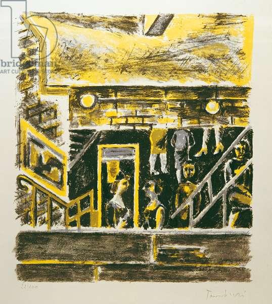 Tube Interior (Interno di metrò), by Orfeo Tamburi, 1963, 20th Century, lithography