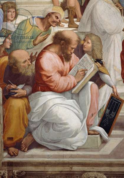Pythagoras and the representation of arithmetic, detail of the School of Athens, from the Stanza della Segnatura, 1510-11 (fresco)