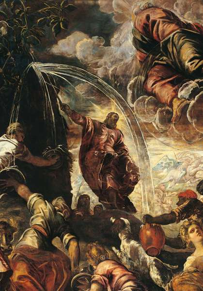 Moses Drawing Water from the Rocks (Mosè fa scaturire l'acqua dalla roccia), by Jacopo Robusti known as Tintoretto, 1577, 16th Century, oil on canvas