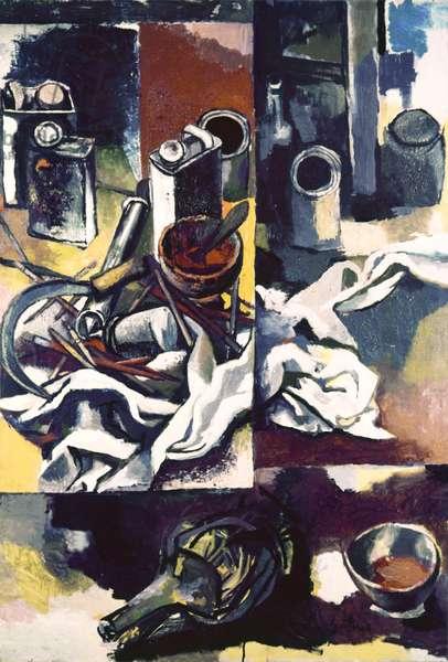 Page of Still Life (Pagina di nature morte), by Renato Guttuso, 1958, 20th Century, oil on paper, 119 x 81 cm