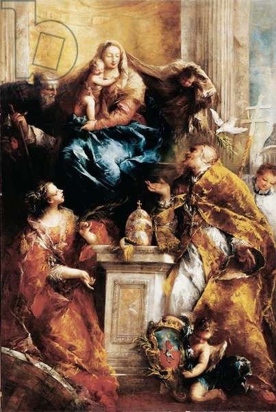Madonna Enthroned and Saints, (canvas)