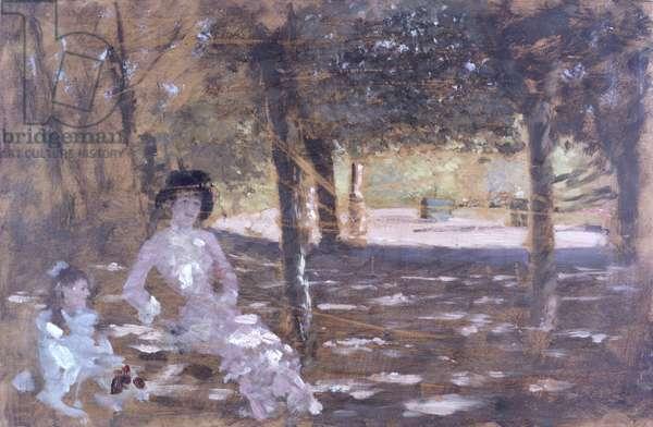 In the garden (In giardino), by Giuseppe De Nittis, 19th Century