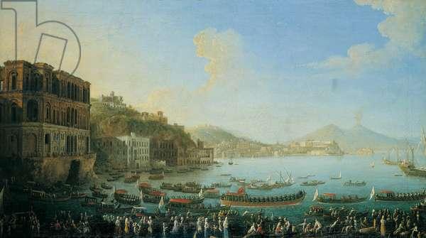 View of Naples with Palazzo Donn'Anna (Veduta di Napoli con Palazzo Donn'Anna), by Antonio Joli, 18th century (oil on canvas)