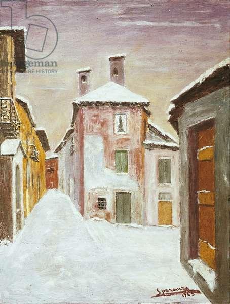 Snow in Arcumeggia, 1965 (oil on canvas)