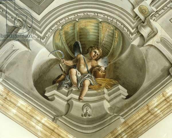 Putto with ears of wheat and sickle (Putto con spighe di grano e falce), by Giacomo Zampa, 18th Century, fresco