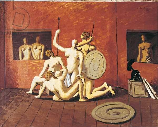 The Battle of the Amazons (La battaglia delle Amazzoni), by Giorgio de Chirico, 1927, 20th Century, oil on canvas, 65 x 81 cm