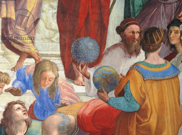 Zarathoustra, astronomer with his celestial globe and Claudius Ptolemy, geographer, with his terrestrial globe, detail of the School of Athens, from the Stanza della Segnatura, 1510-11 (fresco)