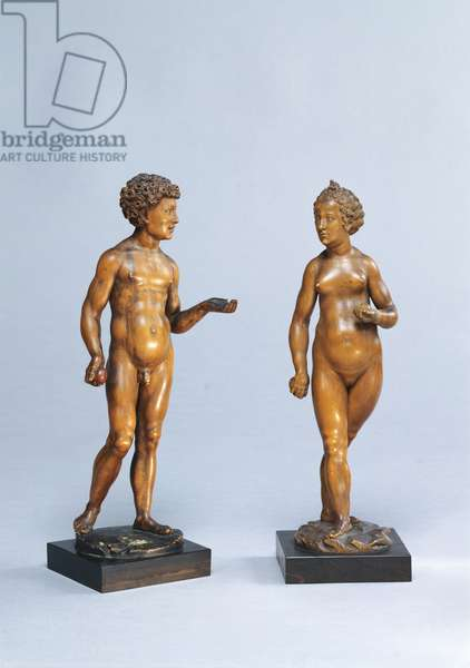 Adam and Eve (Adam und Eve), by Conrat Meit, 1520, 16th Century, carved pearwood, 25,5 cm and 24 cm