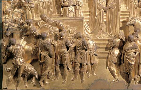 The Meeting of King Solomon and the Queen of Sheba, 1425 - 1452 (casting bronze, chased and gilded)