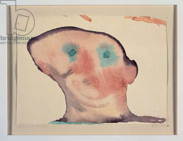 """""""Luminous shape, head seen from the front"""" 1910 (watercolour)"""