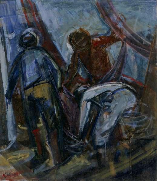 Fishers (Pescatori), by Armando Pizzinato, 1960, 20th Century, oil on canvas