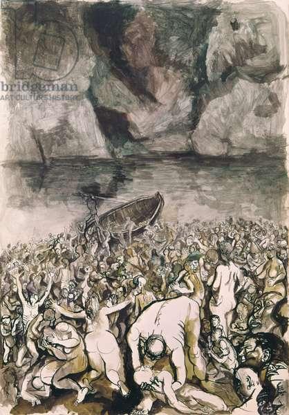 Damned Souls by the Acheron (Le anime dei dannati presso l'Acheronte), 20th Century, ink and watercolour on paper