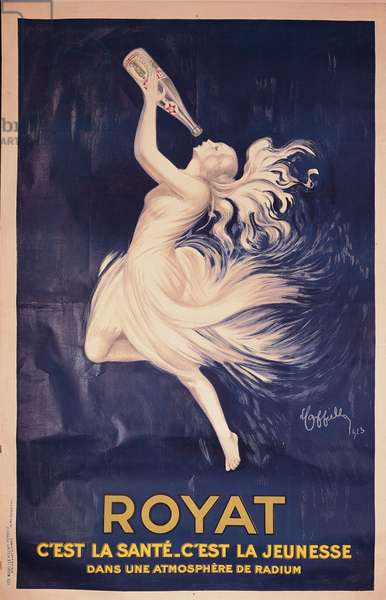 """Poster for the water bottles """"Royat"""" showing a young woman drinking (poster)"""