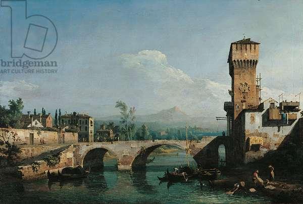 Paduan Capriccio (Capriccio Padovano), by Bernardo Bellotto, 1720 - 1780, 18th Century, oil on canvas, 48 x 73 cm