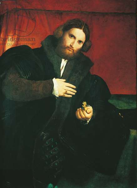 Portrait of a Gentleman with a Lion Paw, by Lorenzo Lotto, 1525, 16th Century, oil on canvas, 95.5 x 69.5 cm