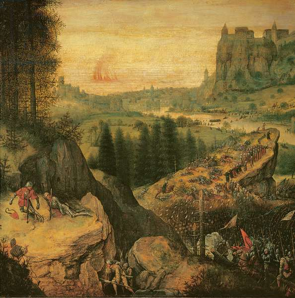 The Suicide of Saul (Battle Against The Philistines On The Gilboa), by Pieter Bruegel the Elder, 1562, 16th Century, oil on wood, 34 x 55 cm