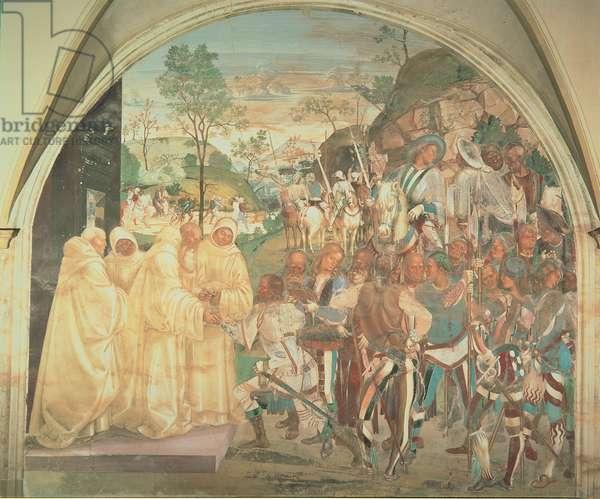 Benedict Recognizing and Welcoming Totila, 1497 - 1498 (fresco)