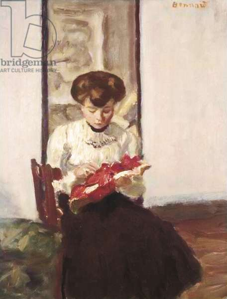 The Milliner (La modiste), by Pierre Bonnard, c. 1905, 20th Century, oil on panel, 41 x 33 cm