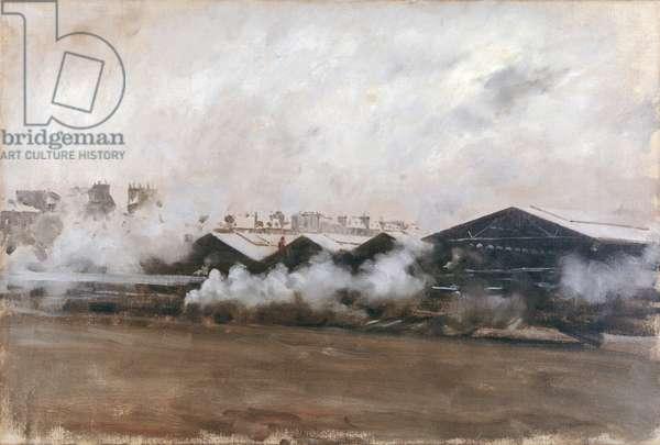 Sheds in a Railway Station - Construction Yard (Capannoni di una stazione ferroviaria-cantiere), by Giuseppe De Nittis, 1879, 19th Century, oil on canvas, 35 x 55 cm