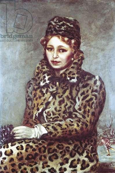 Lady in Leopard Coat (Dama in mantello di leopardo), by Giorgio de Chirico, 1940, 20th Century, oil on canvas, 82 x 57 cm