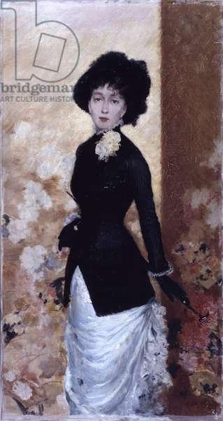 Female Figure (Figura di donna), by Giuseppe De Nittis, 1880, 19th century, oil on canvas, 79 x 38 cm