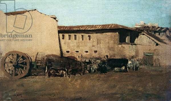 The Farmhouse II (La masseria II), by Giuseppe De Nittis, 1865-1867, 19th Century, oil on canvas, 7,4 x 10 cm