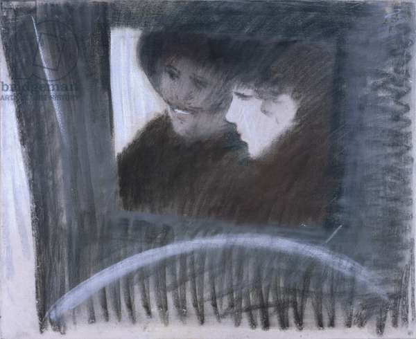 In a Cab (In fiacre), by Giuseppe De Nittis, 1883, 19th Century, crayon on canvas, 56,5 x 73 cm