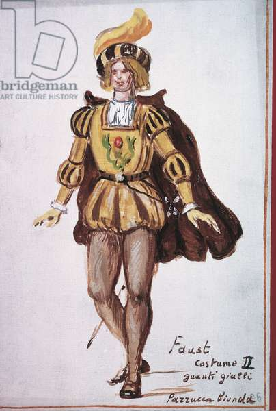 Faust Costume, Mephistopheles (Costume per il Faust, Mefistofele), by Giorgio de Chirico, 20th Century, lean tempera on wood canvas, 30 x 20 cm