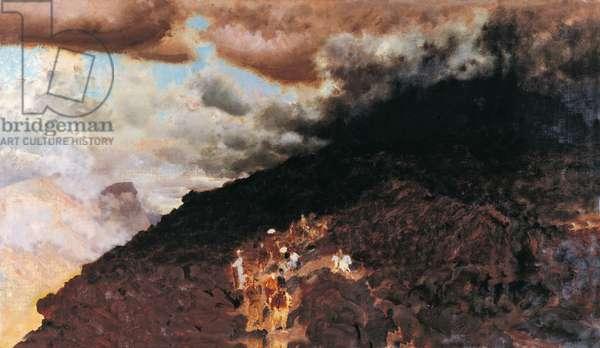 Eruption of Vesuvio I (Eruzione del Vesuvio I), by Giuseppe De Nittis, 1872, 19th Century, oil on canvas, 17 x 130 cm