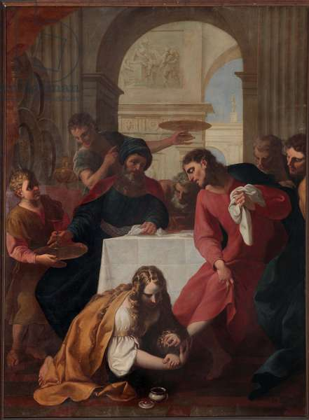 Magdalene in the House of Simon the Pharisee, by Giuseppe Tortelli, oil on canvas