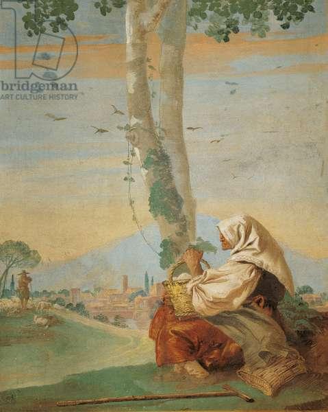 Landscape with Sitting Farmer (Paesaggio con contadina seduta), by Giandomenico Tiepolo, 1757, 18th Century, fresco
