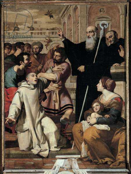 St Benedict Delivering a Monk from the Devil, (tela)