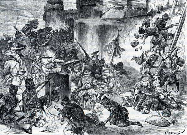 """Wars between the Ottoman Empire and the Holy Empire: the siege of Vienna in 1529 (Siege of Vienna in 1529 was the first attempt by the Ottoman Empire, led by Suleiman the Magnificent, to capture the city of Vienna, Austria) Engraving from """""""" Germania"""""""" by Johannes Scherr 1880 Private collection"""